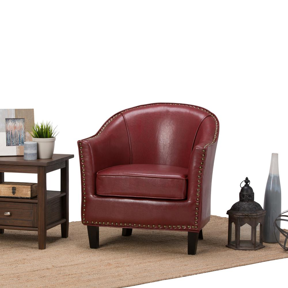 Simpli Home Kildare Radicchio Red Bonded Leather Arm Chair