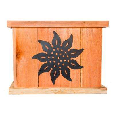 22 in. x 22 in. Deluxe Redwood Planter with Sunflower Art