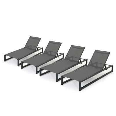 Javier Black Adjustable 4-Piece Metal Outdoor Chaise Lounge
