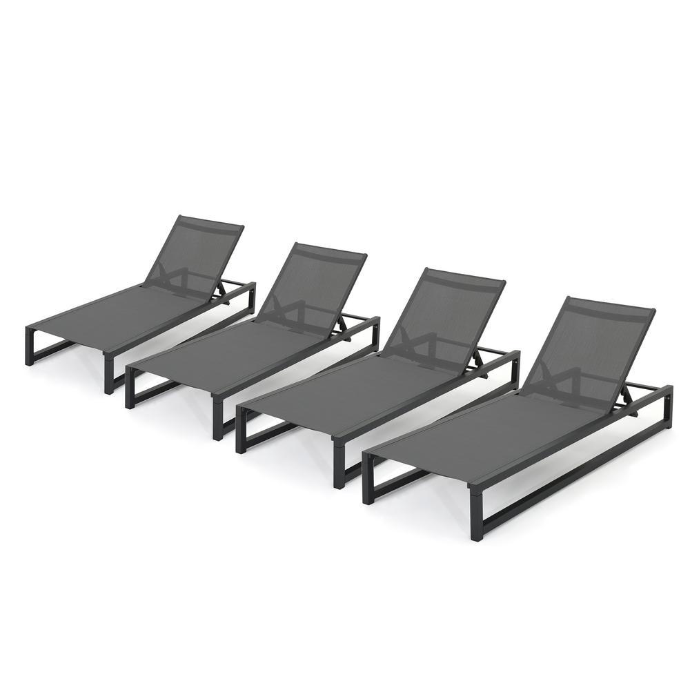 Javier Black Adjustable 4-Piece Metal Outdoor Chaise Lounge