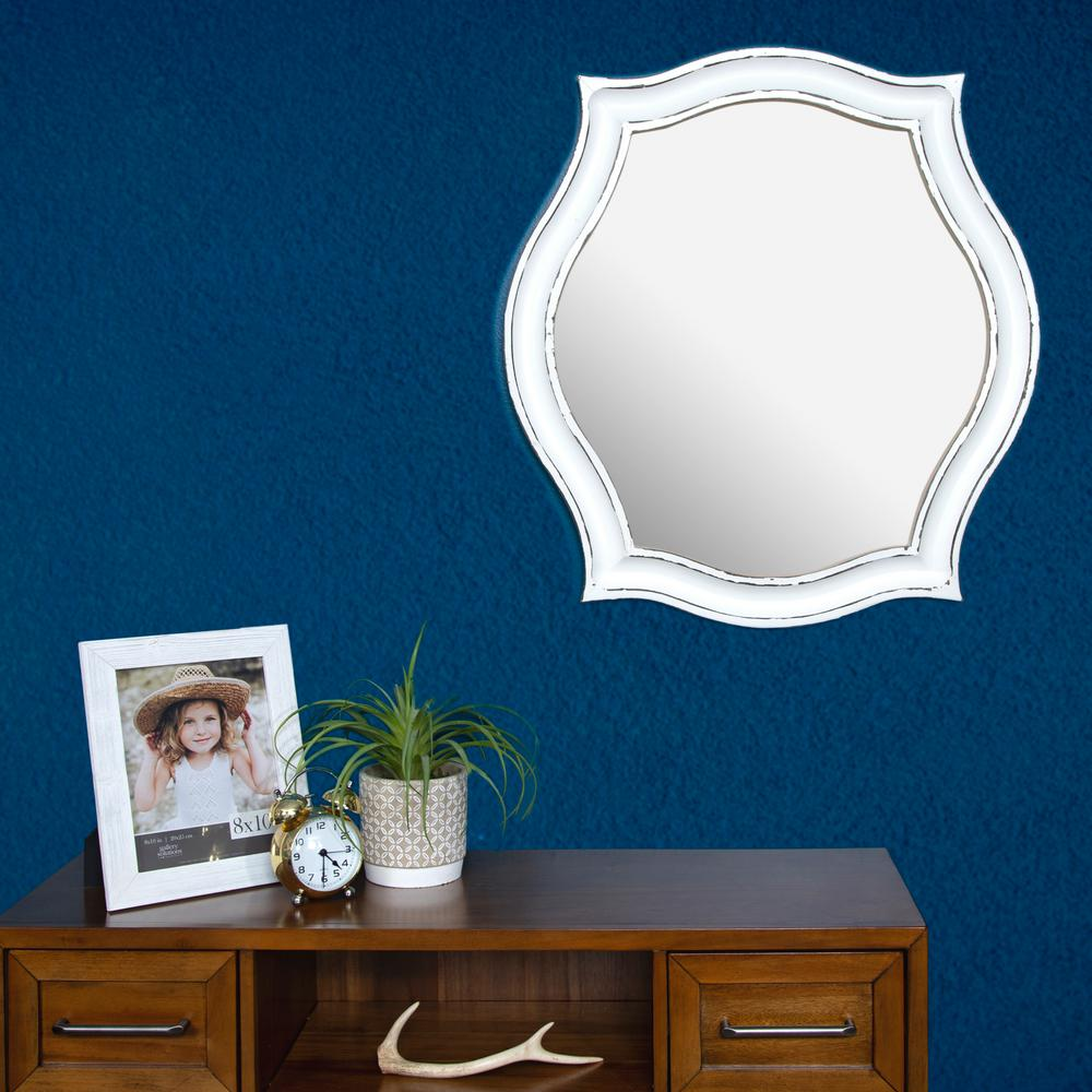 Scallop Oval Whitewash Decorative Mirror