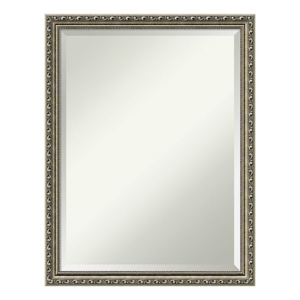 Parisian Silver Wood 21 in. x 27 in. Traditional Bathroom Vanity Mirror