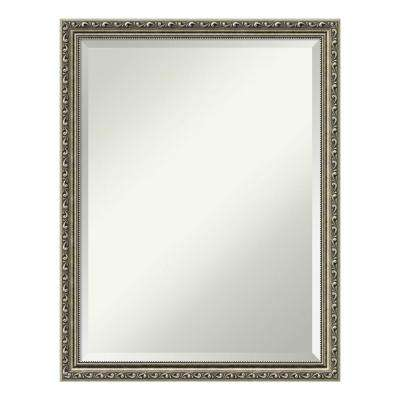Parisian Silver Wood 21 in. x 27 in. Traditional Bathroom Vanity Mirror