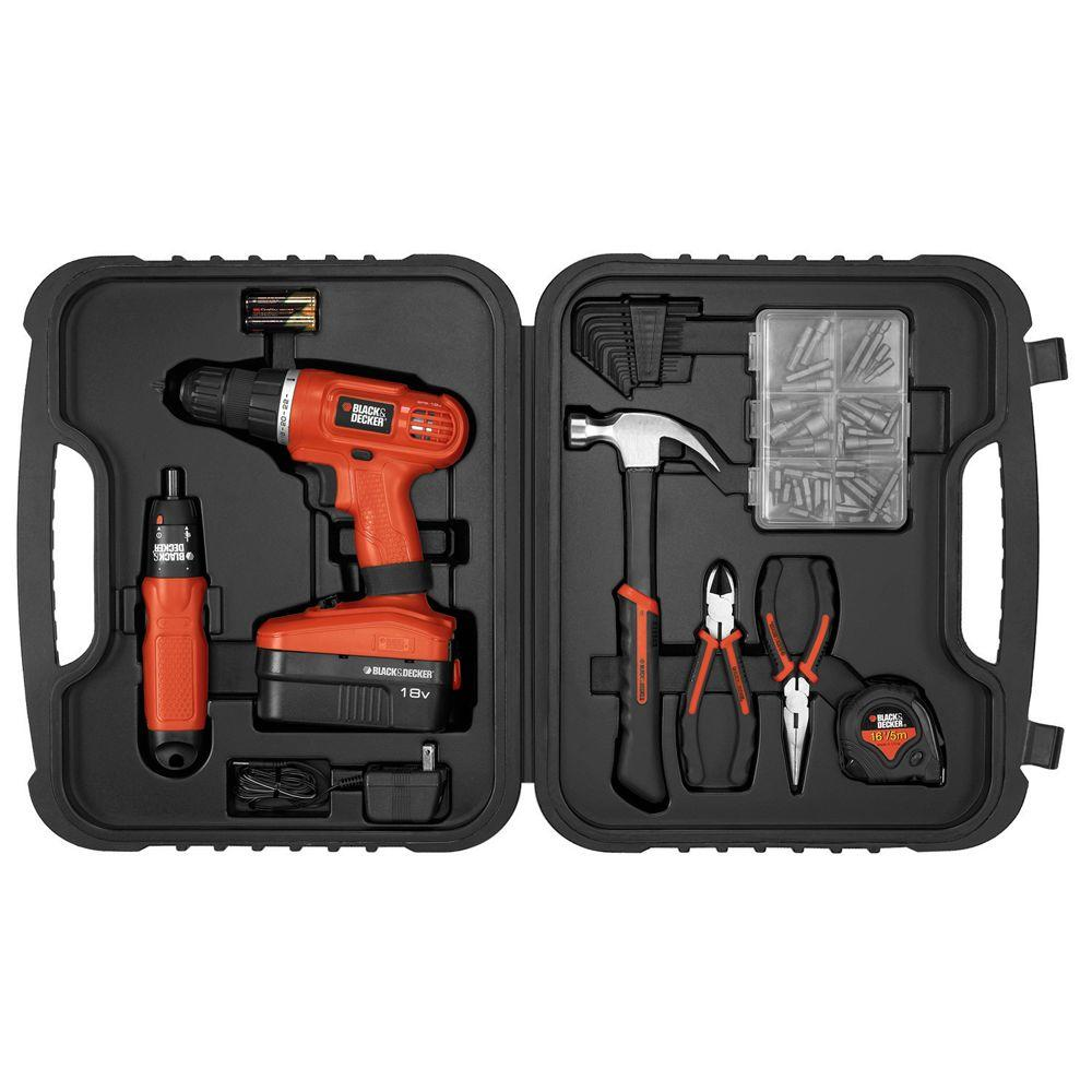 BLACK+DECKER 18-Volt NiCad Project Kit with Cordless Drill and 6-Volt Screwdriver Hand Tools and Accessories (59-Piece)