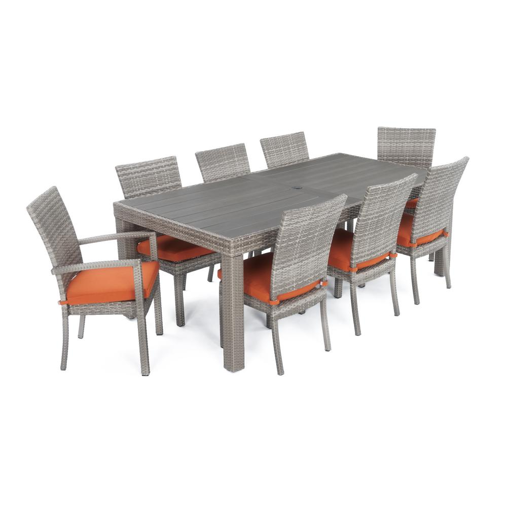 RST Brands Cannes 9 Piece Patio Woven Dining Set With Tikka Orange Cushions