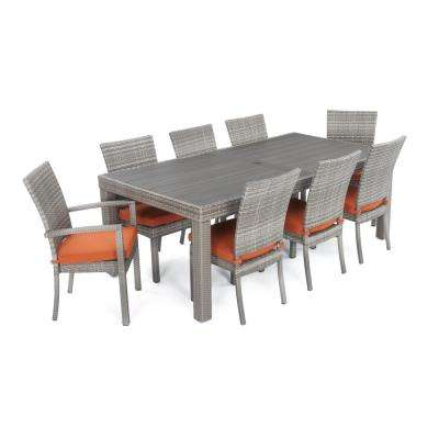 Cannes 9-Piece Patio Woven Dining Set with Tikka Orange Cushions