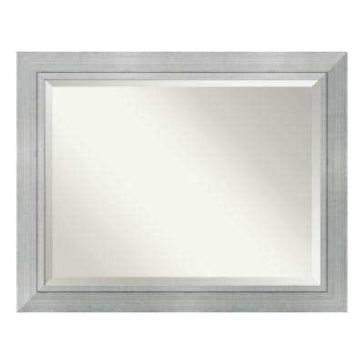 Romano Burnished Silver Wood 47 in. W x 37 in. H Single Contemporary Bathroom Vanity Mirror