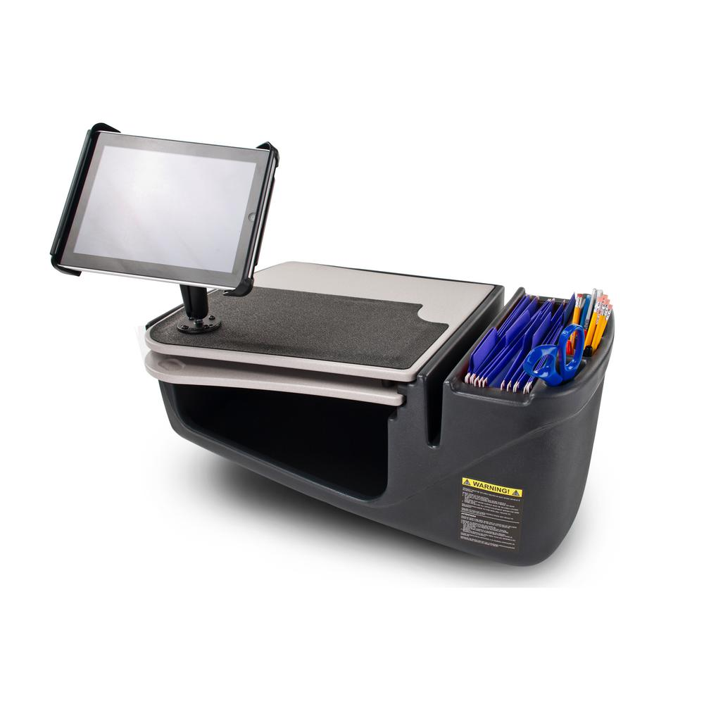 AutoExec GripMaster Auto Desk with Tablet Mount The GripMaster with iPad/Tablet mount is the ideal solution for those who frequently use a tablet and need a writing surface as well. The top surface of the desk is covered with a rubber non-skid material, this ensures that a laptop, briefcase or cell phone will keep from sliding while the vehicle is in motion. The GripMaster features a pull-out writing surface with built-in clipboard, which provides a convenient area for doing paperwork and writing. The large storage area underneath is great for office tools and accessories and also for keeping a laptop out of sight.
