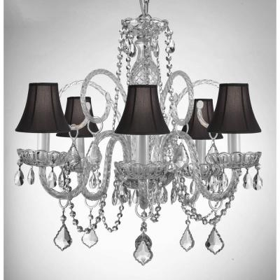 Empress Crystal 5-Light Chandelier with Black Shades