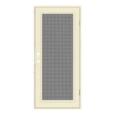 30 in. x 80 in. Full View Beige Hammer Right-Hand Surface Mount Security Door with Meshtec Screen