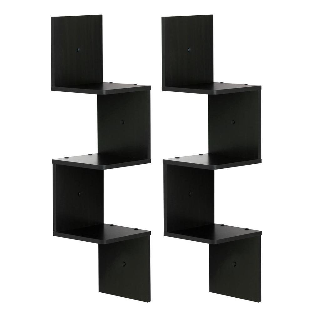 Espresso 3-Shelf Square Floating Corner Shelf (2-Pack)