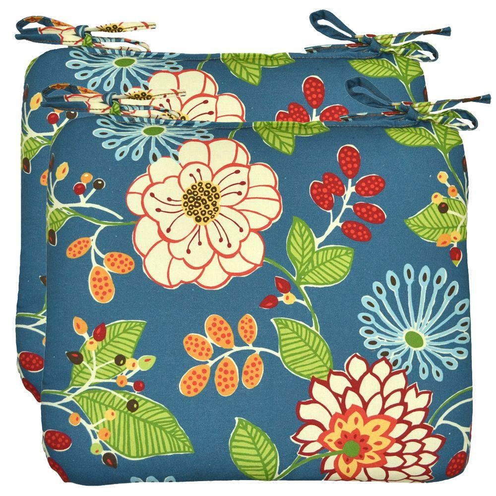 Hampton Bay Ruthie Floral Outdoor Seat Pad (2-Pack)-DISCONTINUED