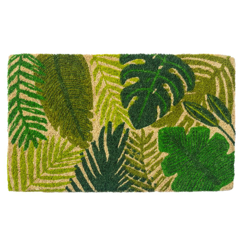 Tropical Leaves 30 in. x 18 in. Hand Woven Coconut Fiber