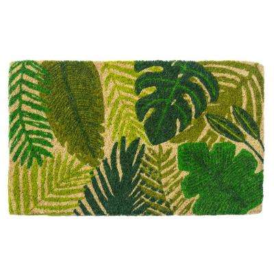 Tropical Leaves 30 in. x 18 in. Hand Woven Coconut Fiber Door Mat