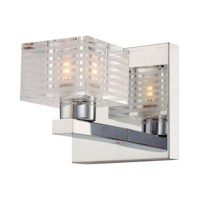 Quatra 1-Light Chrome and Clear Glass Vanity Light