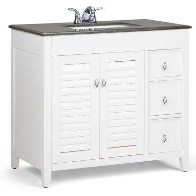 Adele 36 in. W x 21.5 in. D x 34.5 in. H Bath Vanity in Soft White with Granite Vanity Top in Black with White Basin