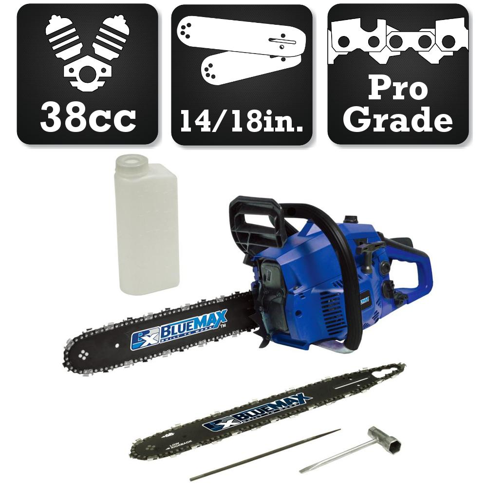Blue Max 2-in-1 18 in. and 14 in. 38cc High-Performance Gas Chainsaw