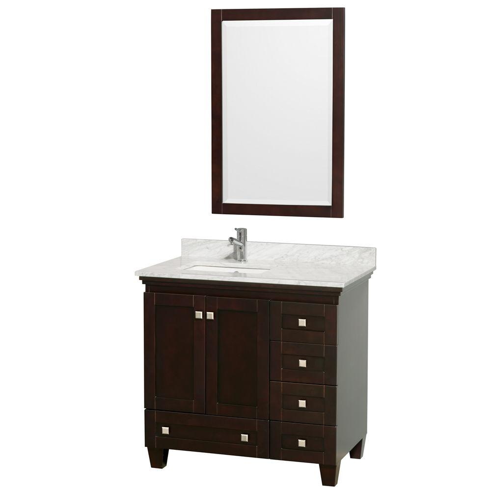 Wyndham Collection Acclaim 36 in. Vanity in Espresso with Marble Vanity Top in Carrara White and Porcelain Under Mounted Sink-DISCONTINUED
