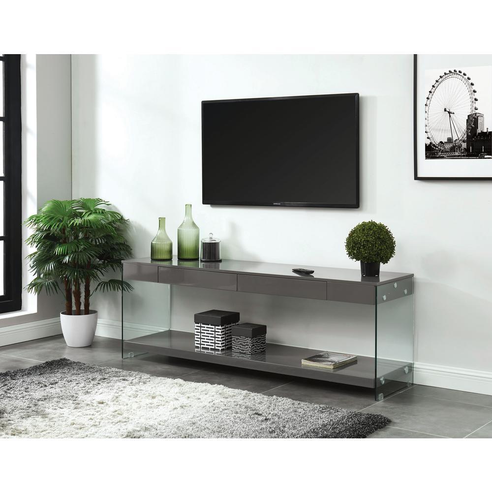 Tv Stand Modern Designs : Cm bk tv sabugal black finish wood modern style glass sides