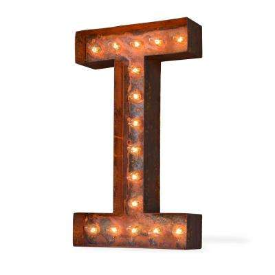 Modern American 24 in. High Rusted Steel Alphabet Letter I Plug-In Marquee Lights
