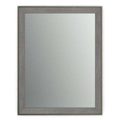23 in. x 33 in. (S2) Rectangular Framed Mirror with Standard Glass and Easy-Cleat Flush Mount Hardware in Weathered Wood