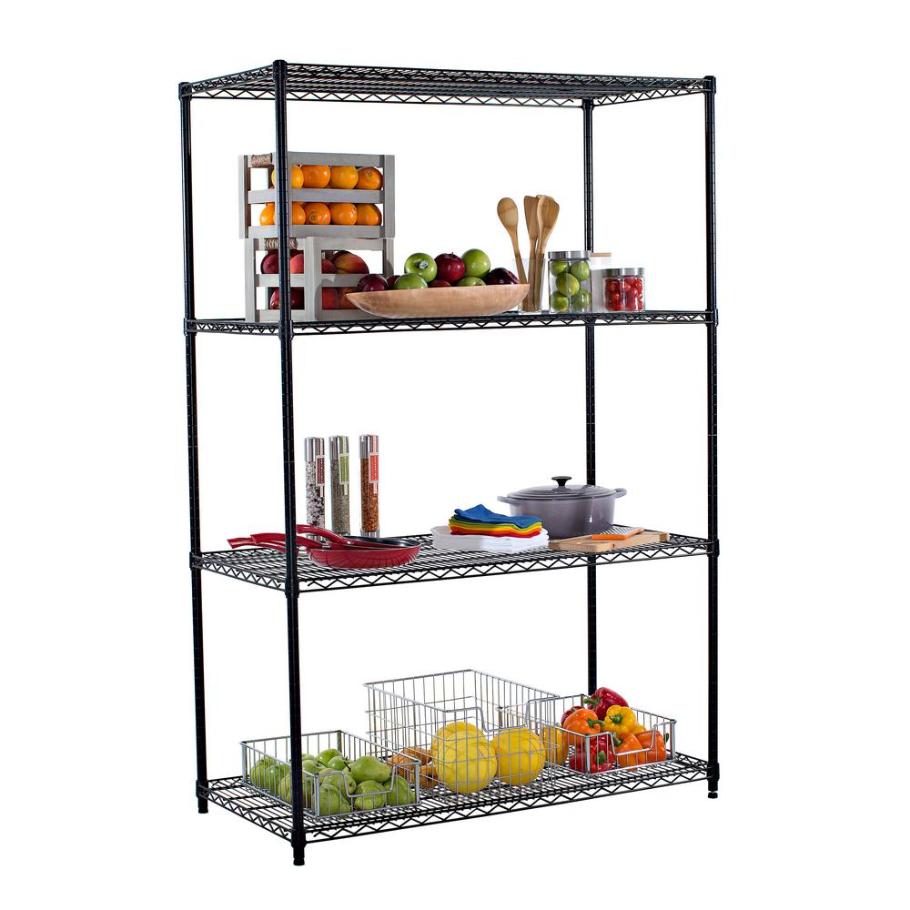 Well known TRINITY 48 in. x 24 in. NSF Black 4-Tier Wire Rack Decorative  UM66