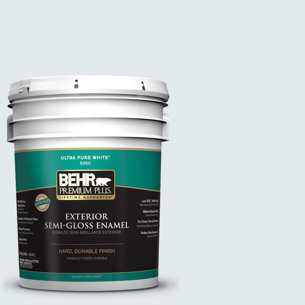 BEHR Premium Plus 5-gal. #PWN-27 Blue Opal Semi-Gloss Enamel Exterior Paint