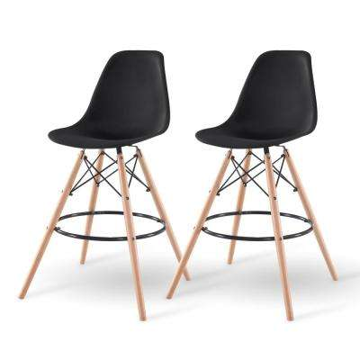 43 in. Black Bar Stool (Set of 2)