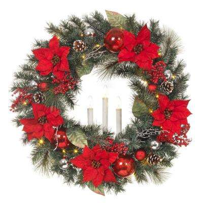 30 in. LED Pre-Lit Snowy Mixed Pine Wreath with Poinsettias and LED Timer Candle
