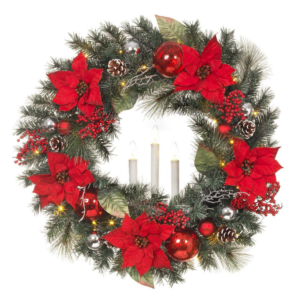 30 in. LED Pre-Lit Snowy Mixed Pine Wreath with Poinsettias and