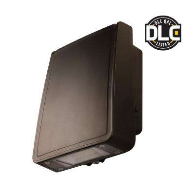 Slim-Profile Bronze Outdoor Integrated LED Wall Pack Light with 1600 Lumens