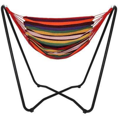 5 ft. Fabric Hanging Hammock Chair Swing with Space-Saving Stand in Sunset