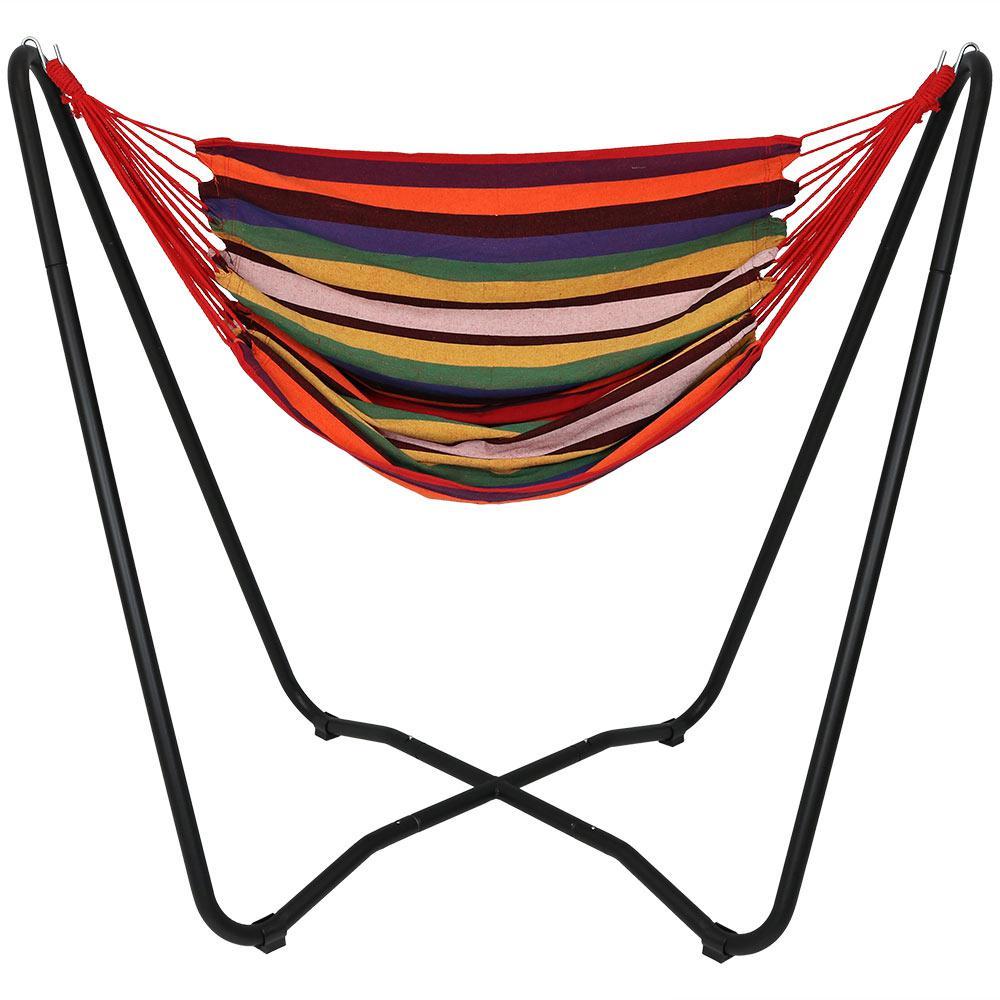 Ocean Breeze Sunnydaze Hanging Rope Hammock Chair Swing w// Space-Saving Stand