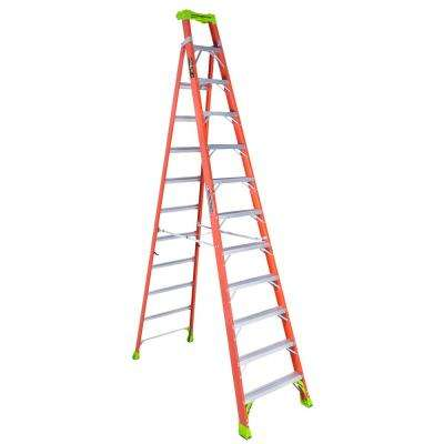 12 ft. Fiberglass Cross Step Ladder with 300 lbs. Load Capacity Type IA Duty Rating