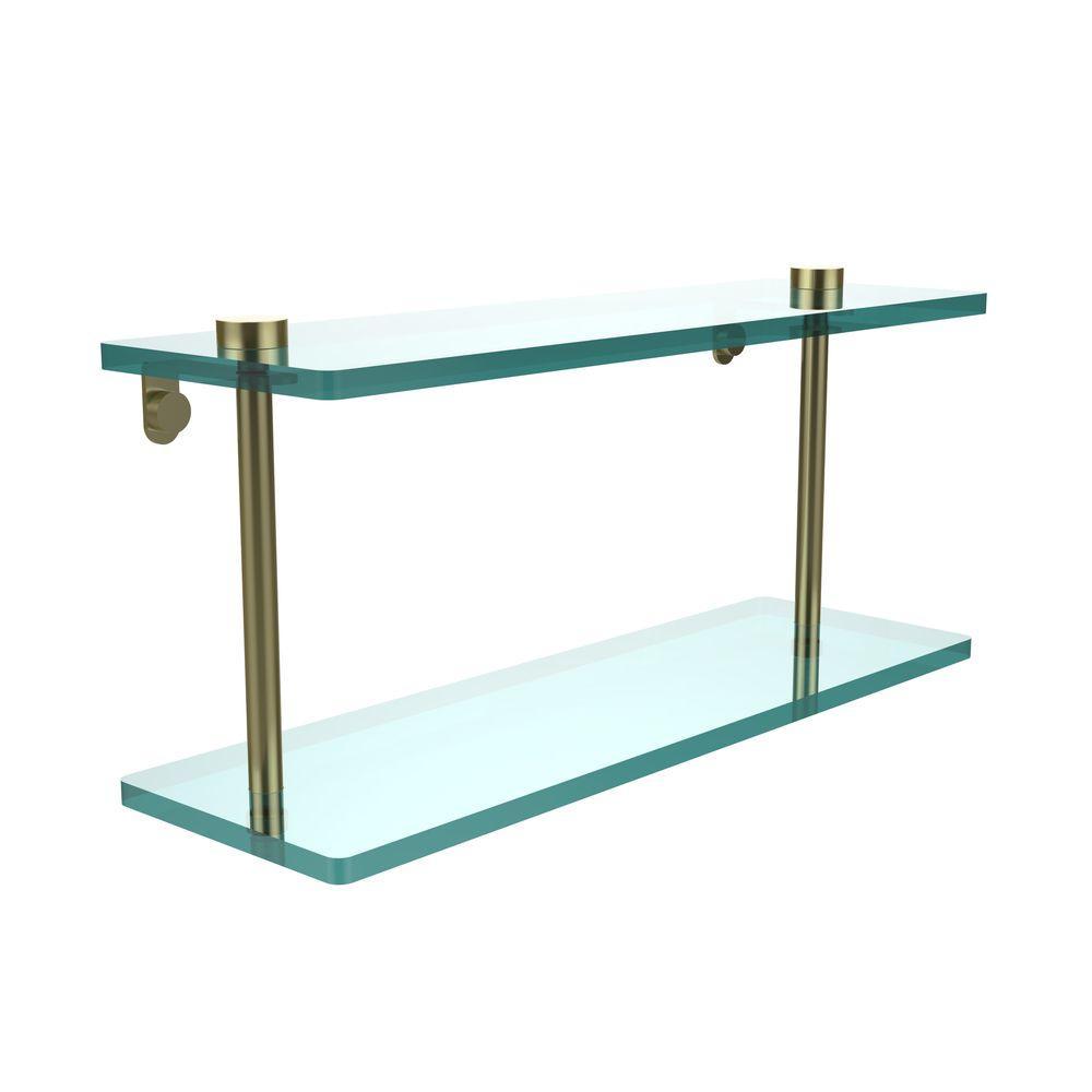 16 in. L x 8 in. H x 5 in. W 2-Tier Clear Glass Vanity Bathroom Shelf in Satin Brass