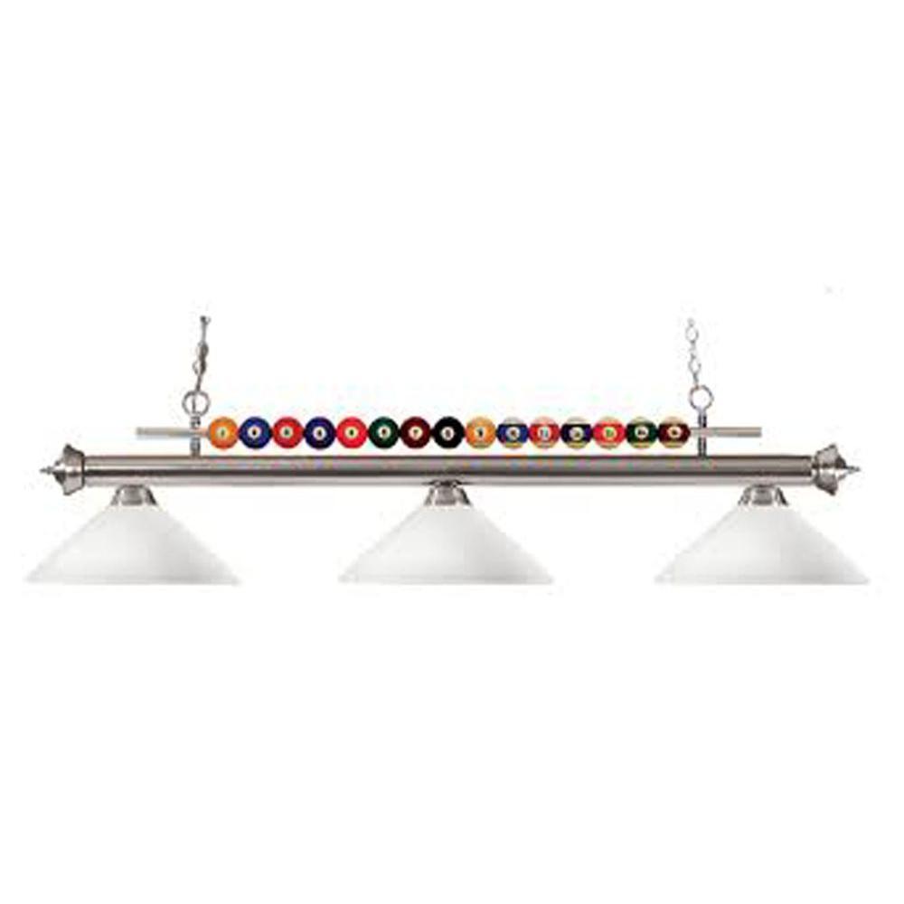Lawrence 3-Light Brushed Nickel Incandescent Ceiling Island Light