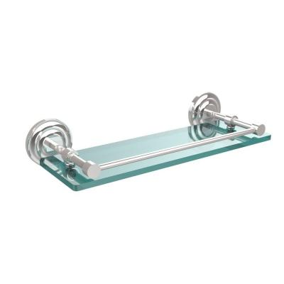 Que New 16 in. L x 3 in. H x 5 in. W Clear Glass Bathroom Shelf with Gallery Rail in Polished Chrome