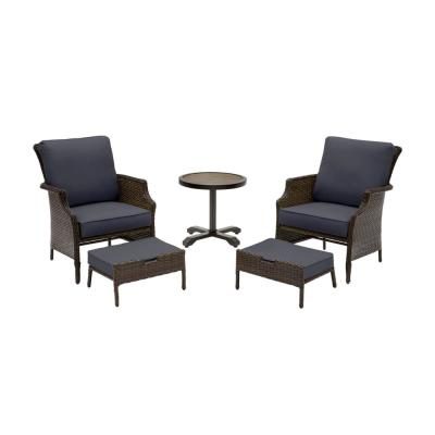 Grayson 5-Piece Brown Wicker Outdoor Patio Small Space Chat Seating Set with CushionGuard Midnight Navy Blue Cushions