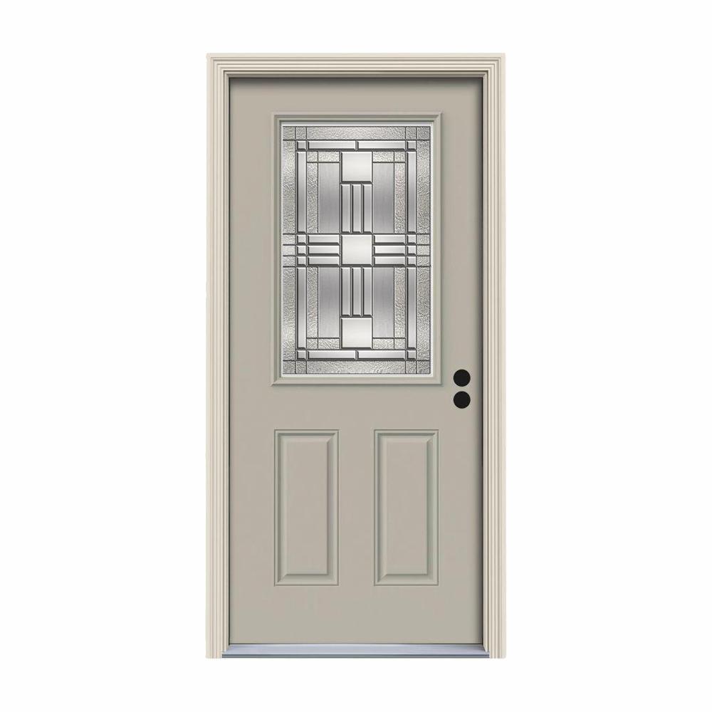 36 in. x 80 in. 1/2 Lite Cordova Desert Sand Painted Steel Prehung Left-Hand Inswing Front Door w/Brickmould