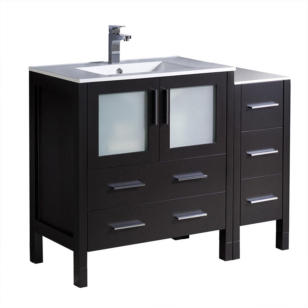 Torino 42 in. Bath Vanity in Espresso with Ceramic Vanity Top in White with White Basin