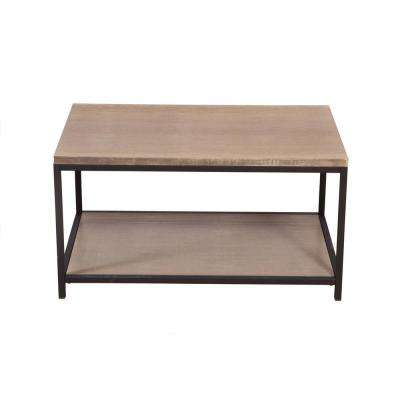 Brushed Gray 2-Tier Solid Bamboo Steel Frame Coffee Table