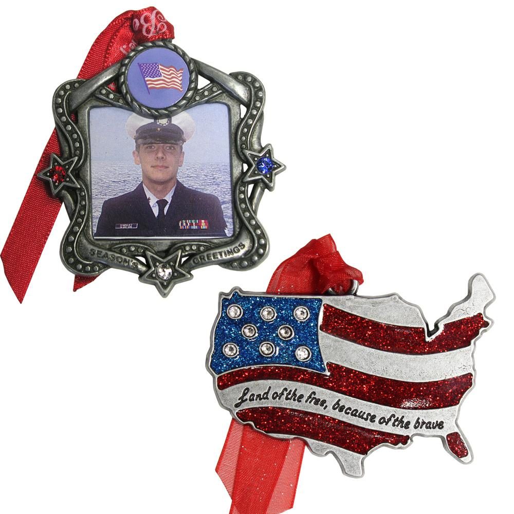 Patriotic Frame and USA Ornament Set