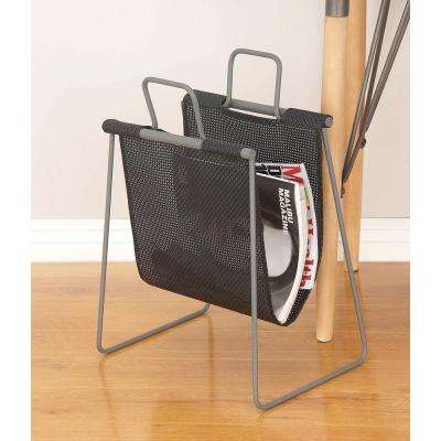 16 in. x 20 in. Modern Metal Fabric Magazine Holder in Black
