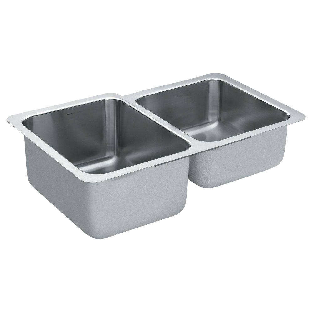 Moen 1800 Series Undermount Stainless Steel 32 In Double Bowl Kitchen Sink G18231 The Home Depot