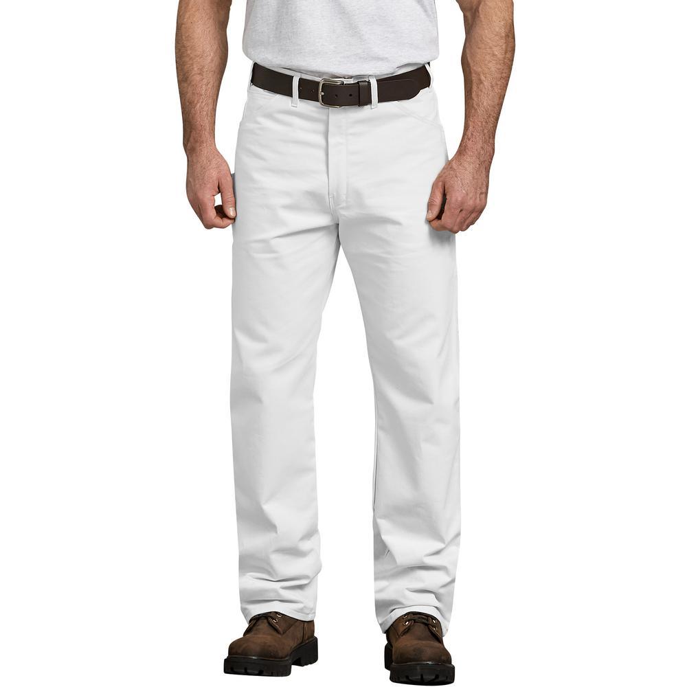 Men's White Relaxed Fit Straight Leg Cotton Painter's Pants 34x34