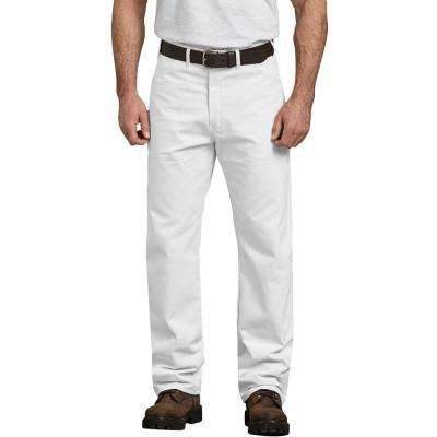 Men's White Relaxed Fit Straight Leg Cotton Painter's Pants