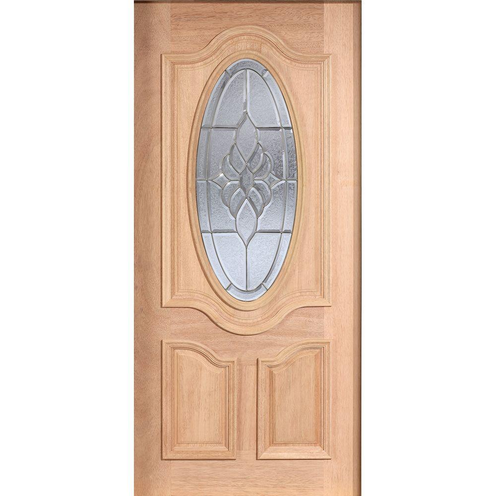 Main Door 36 in. x 80 in. Mahogany Type Unfinished Beveled Patina 3/4 Oval Glass Solid Wood Front Door Slab