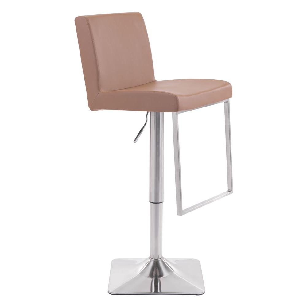 ZUO Puma Adjustable Height Taupe Cushioned Bar Stool  sc 1 st  The Home Depot : taupe leather bar stools - islam-shia.org