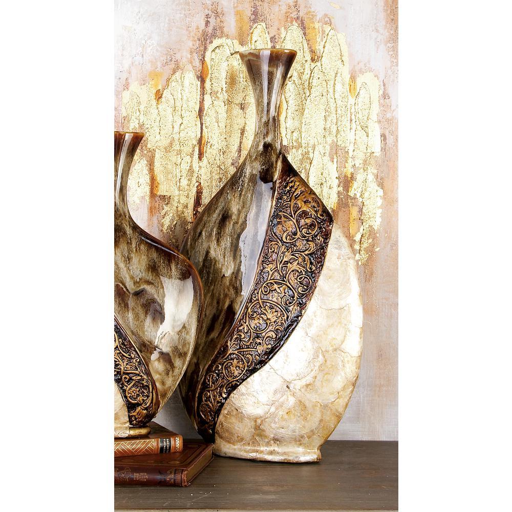 Multi-Colored Ceramic Decorative Vase with Capiz Shell Accents