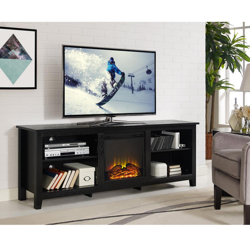 Walker Edison Furniture Company Essentials Espresso Fire Place